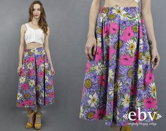 Purple Floral Culottes 80s Culottes Floral Pants Cropped Pants Crop Pants Wide Leg Pants Short Pants 1980s Pants High Waisted Pants