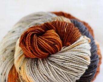 Kissed By Fire - House Wren - 85/15 superwash merino/ nylon tweed sock yarn