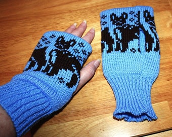 Cornflower Blue Knitted Reversible Fingerless Mitts with Brown French Bull dogs - READY TO SHIP