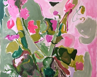 Geraniums In a Pot. Large, original, one of a kind, oil painting. Modern, expressionistic.
