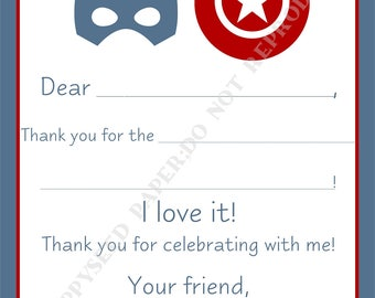 Captain America Fill In Thank You Notes- Kids- Children- Captain America Stationery- Birthday Party