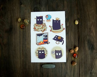 Autumn cat sticker set. Cat emotions sticker for planner.