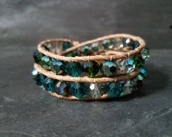 Double Leather Wrap Bracelet - Sea Colors with Natural Leather - Mermaid Bracelet Mermaid Jewelry Gypsy Wrap Bracelet Bohemian Jewelry Boho