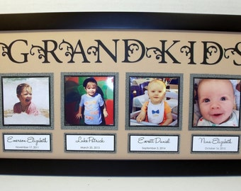 Grandkids Collage Photo Mat 10x20 UNFRAMED - You Choose Colors - Up to 5 Photo Spots - FREE PERSONALIZATION