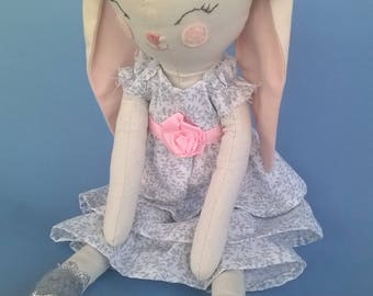 Pretty soft toy rabbit, Keepsake rabbit, heirloom bunny,
