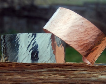 Textured Cuff in Copper or Silver - Cherokee Copper