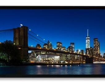Heure bleue sur Manhattan, New-York City, tirage d'art contrecollé sur Alu-Dibond et monté en caisse américaine