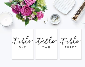 Wedding Table Numbers | Printable Table Numbers 5x7 | Modern Table Numbers 1-10 | Script Written Table Numbers | Reception Table Numbers