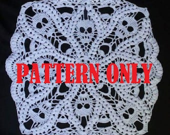Death By Popcorn -  square skull doily - PDF - Downloadable pattern