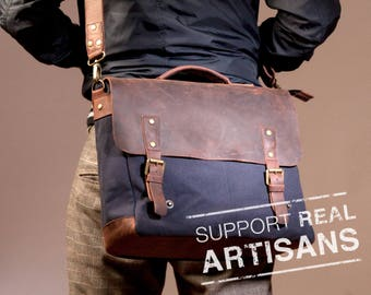 Canvas Laptop Bag Man, Men Bag, Waxed Canvas Bag, Men Laptop Bag, Canvas Men Bag, Waxed Bag