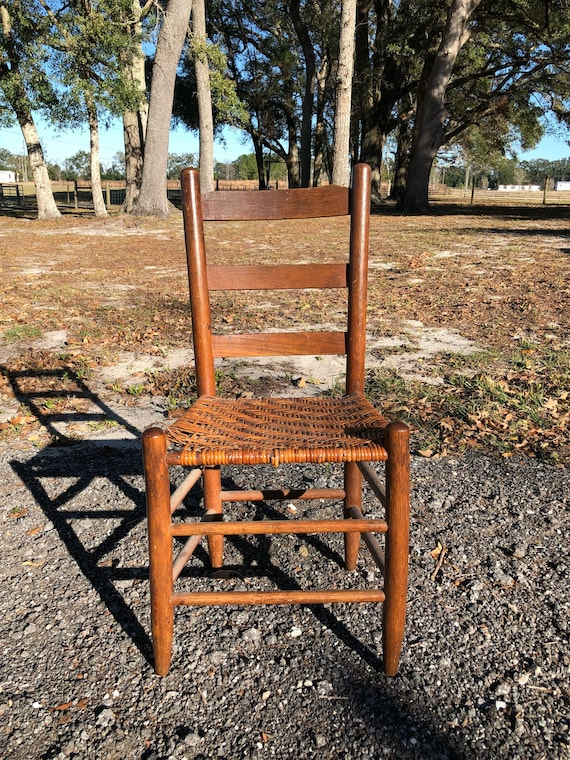 - Antique Ladder Back Chair Vintage Chair Cane Seat Woven