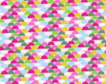 SALE - Geometric Print Fabric Half Circle Brights Galaxy Tweetie Pie Fabric - 100% Cotton - By the Yard hot pink green blue CLEARANCE FABRIC