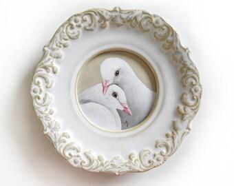 Valentine Dove painting - white dove pair - lovey dovey - valentines gift - ornate ceramic frame - cream and white - peace dove - love art