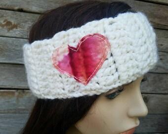 Womens Ear Warmer Womens Headband Heart Headband Love Winter Headband Tree Branch Headband Cream Pink Headband - MADE TO ORDER