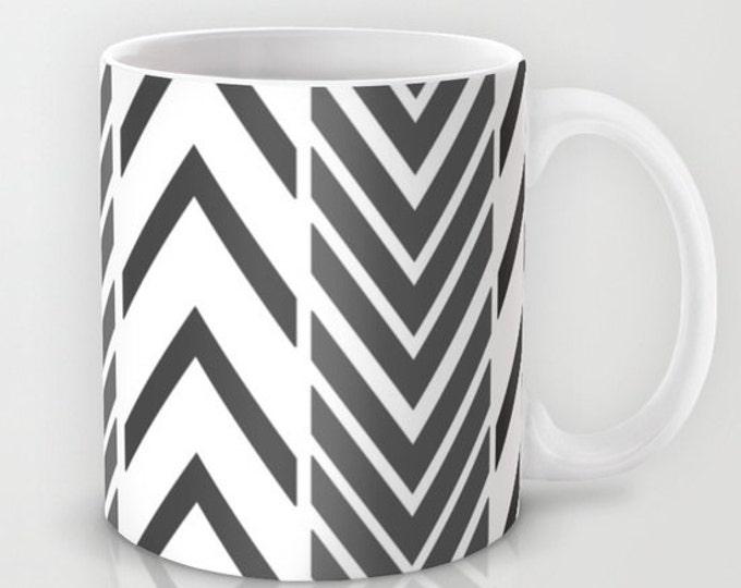 Black and White Coffee Mug  - Black and White Arrows Mug - Coffee Cup - 11oz - 15oz - Made to Order