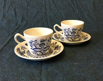 Vintage Enoch Wedgewood Blue Heritage Flat Cups and Saucers, Set of 2, Blue Onion China