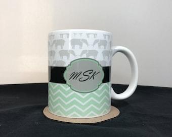 Monogram Mug With Elephants and Chevron Print - Personalized - Printed Around the Mug - 098