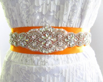 SQA-18 / Large Rhinestone Bridal Belt / Bridal Sash / Bridal  / Rhinestone Sash / Wedding Belt / Rhinestone Bridal Belt / Crystal Belt