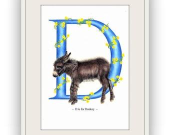 Donkey Nursery Art Print, Donkey Letter Art Print, UK Seller