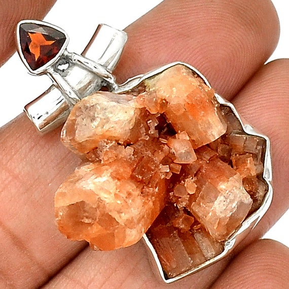 Rare Argonite Crystal Pendant set in Sterling Silver