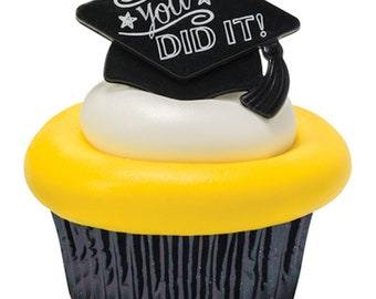 24 You Did It Grad Cupcake Ring Toppers/Favors! NEW! Party Supplies