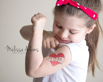 mothers day gift temporary tattoo for girls mom heart tattoo kids fake tattoo red heart mum tattoo for children mothers day photoshoot