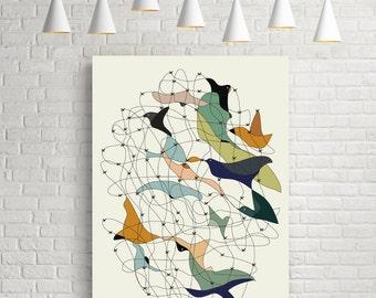 Mid century modern art,  mid century modern, modern print, wall decor, art prints, modern art, mid century, print, birds, birds art, giclee