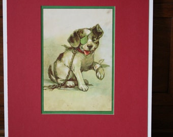 Vintage Print Lithograph Terrier Dog Matted