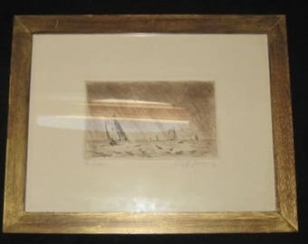 Original Engraving, Etching, Seascape Signed, French Vintage