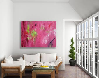 XL Pink and Green Abstract Painting / Colorful Abstract Art / Pink Abstract Art / Original Art / Large Pink Painting