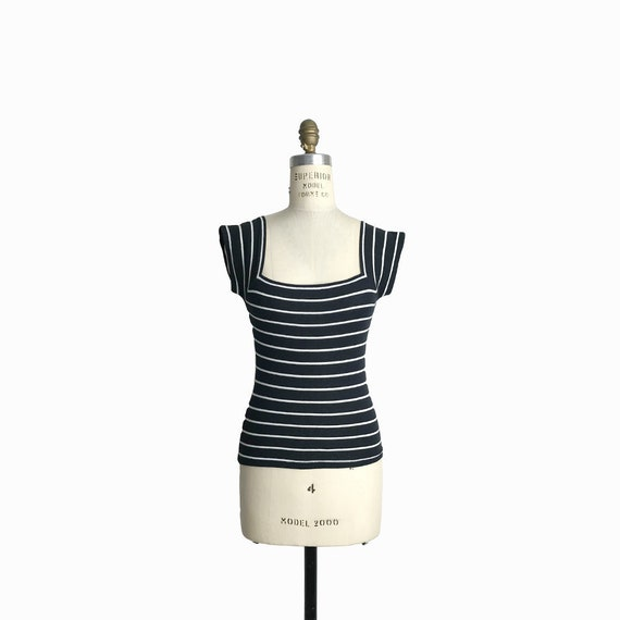 Vintage 90s Striped Cap Sleeve Tee / Black and White Striped Top with Squared Neck - women's xs/small