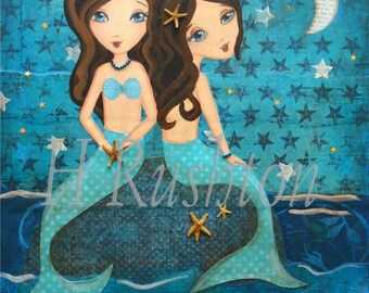 Mermaid Art -  Print on Canvas - Canvas Art for Kids- Mermaid Sisters - Mermaid Decor- Any Size on Canvas You Pick