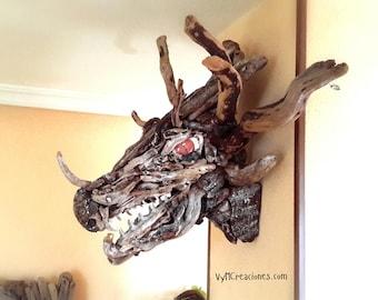 Dragon's head. Sea-Wood. Dragon bust. Wood sculpture. Dragon sculpture. Fantasy Decor.