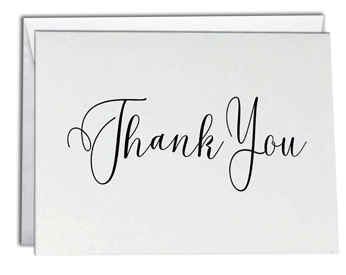 Thank You Note Cards   Boxed Set 10 Thank You Cards   Elegant Script Design