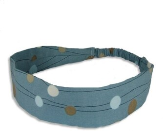 """Fabric Headband - Beach Dot - Pick your size - fit toddlers to adults - 1-1/2"""" wide"""