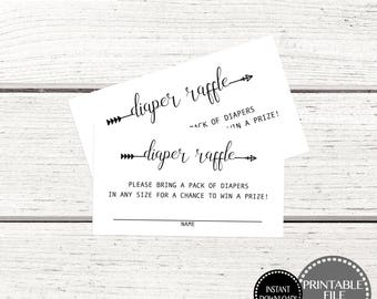 Printable Baby Shower Game, Diaper Raffle Ticket, Printable Diaper Raffle Ticket, Diaper Raffle Cards, Diaper Raffle Insert