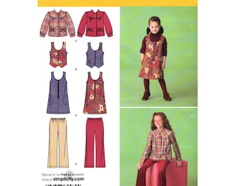Girls Jumper Dress Vest Jacket Pants Pattern Simplicity 2484 School Clothes Girls Size 3 to 6 or 7 to 14 UNCUT