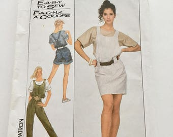 Vintage 1988 Simplicity 8495 RETRO Loose-Fittting Overalls in Two Lengths, Jumper and Pullover Top   Easy UNCUT Factory Fold Size SM