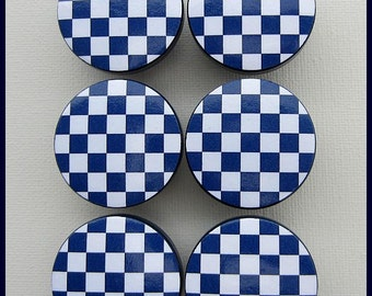 Checkered Knobs • Navy and White Checkers • Drawer Pulls • Dresser Knobs • Navy Knobs