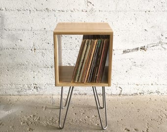 GROGG Vinyl Unit | Hairpin Legs Record Player Stand & Vinyl Shelf | Side Table End Table