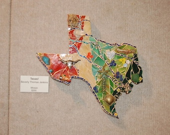 Mixed Media Mosaic, State of TEXAS Mosaic art piece TEXAS