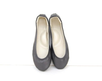 Handmade black leather ballet flat slipper shoes custom made