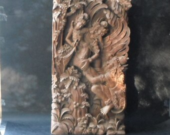 "A Large Deep Relief Chinese Mythology Legend Tengu Wood Carving 18.5"" x 10"""