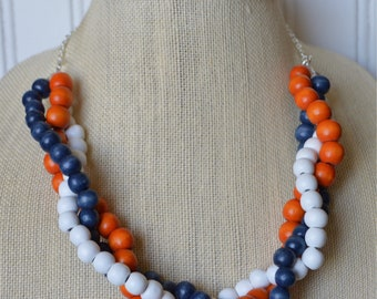 Orange, Blue and White Twisted Multi-Strand Beaded Necklace