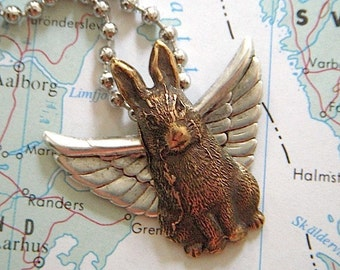 Flying Rabbit Necklace Silver Wings Brass Bunny Victorian Steampunk Vintage Inspired Mixed Metals