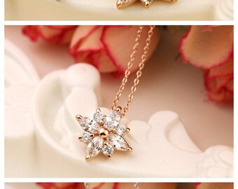 Zirconia Ice Flower Rose Gold Necklace