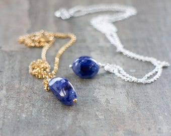 Raw Sapphire Nugget Necklace