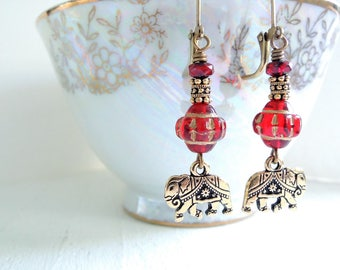 Gold Elephant Earrings Indian Elephant Dangles Bohemian Style Red Czech Glass Earrings Boho Earrings Animal Lover Fun Colorful Gift for Her