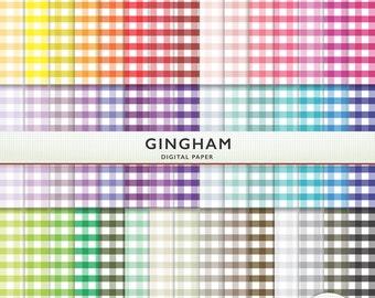 Gingham Digital Paper - Rainbow  45 Sheets Scrapbooking Instant Download & Printable G7265
