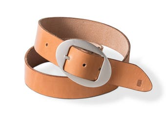 The Essential Belt in Tan with Custom Ellipse Buckle